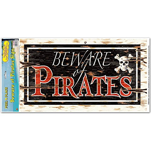 Beware Of Pirates Peel 'N Place Party Accessory (1 count) (1/Sh) - 1