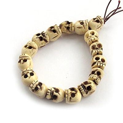 Ox Bone Skull Beads Tibetan Buddhist Prayer Meditation Wrist Mala Bracelet by Ovalbuy