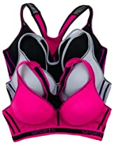 Lacy Juniors 3 Pack Mesh Racerback Molded Cup Sports Bra (36B, Pink/Black/Gray)