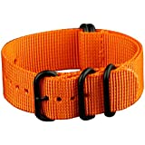 Premium 22mm Zulu 5 Ring PVD Solid Orange Military Nylon Nato Watch Band Strap G-10 Fits All Watches #WS-ZULU-BO-22M