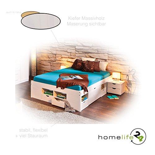 Bett-160x200-cm-Doppelbett-Stauraumbett-Funktionsbett-wei-Rost-Kiefer-massiv