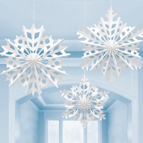 Snowflake Paper Hanging Decorations-Set of 3