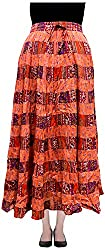 COTTON BREEZE Women's Cotton Skirt (Orange)
