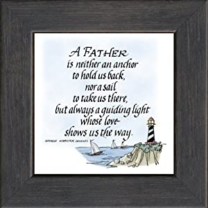 """Father Saying Frame Black 3.5""""x3.5"""" Gift Inspirational with Built in Easel"""