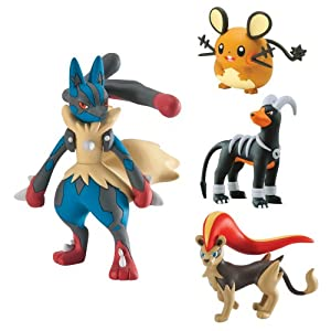 Pokemon Mega Evolution Lucario, Pyroar, Dedenne, Houndoom Action Figure (4 Figure Gift Pack)