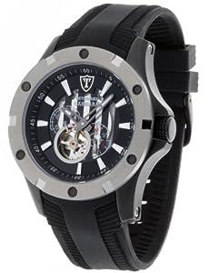 DETOMASO Herrenuhr Automatik Edelstahlgehäuse Silikonarmband Mineralglas CARRARA Automatik Trend schwarz/schwarz DT1018-A