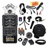 Zoom H6 Portable Handy Recorder Bundle with APH-6 Accessory Pack Hard Case 16GB SD Card Headphones Mic Cable Instrument Cable 3.5mm Cable Mic Stand Adapter Mic Clip Mini Tripod 1/8-Inch-RCA Cable Batteries and Polishing Cloth