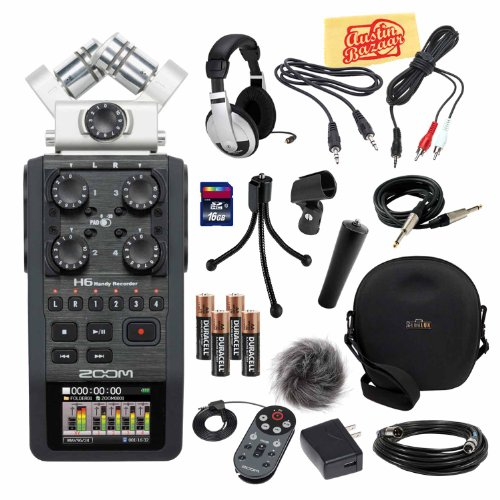 Zoom H6 Portable Handy Recorder Bundle With Aph-6 Accessory Pack, Hard Case, 16Gb Sd Card, Headphones, Mic Cable, Instrument Cable, 3.5Mm Cable, Mic Stand Adapter, Mic Clip, Mini Tripod, 1/8-Inch-Rca Cable, Batteries, And Polishing Cloth