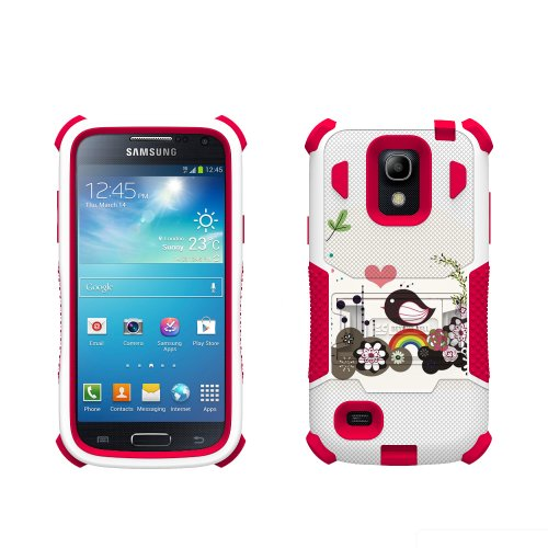 Beyond Cell Tri-Shield Durable Hybrid Hard Shell and Silicone Gel Case for Samsung Galaxy S4 Mini - Retail Packaging - White/Pink/Rainbow Bird