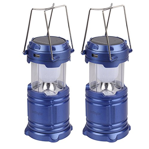 Camping Lantern - LED Solar Rechargeable Camp Light Flashlights - Emergency Lamp - Power Bank for Android Cell Phone IOS Iphone - Blue + Blue (Camping Lantern Kerosene compare prices)