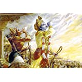 Tallenge - Arjun And Krishna Blowing Conch In The Mahabharata - A3 Size Rolled Poster