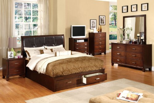 Inland Empire Furniture Cadence Brown Cherry Solid Wood And Leatherette Platform Bed With Storage Drawers Eastern King Bed Set front-448460