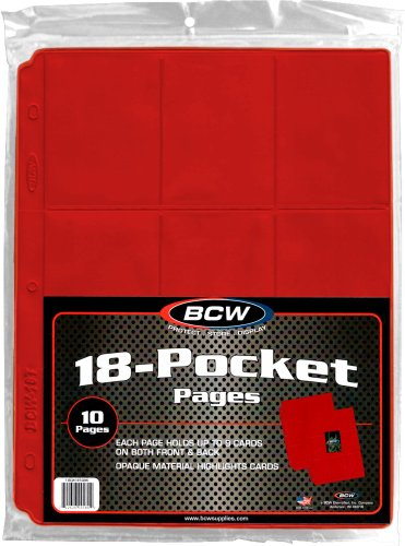 (10) Trading Card 3-Ring Binder Pages - Holds 18 Cards - Red - BCW Brand - 1