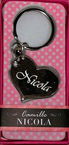 """NICOLA Namens Herz Silber Metall Schlüsselanhänger mit Gravur und Swarovski-Kristall, in Geschenkverpackung, benannt. """"von Sterling Effectz NICOLA"""""""