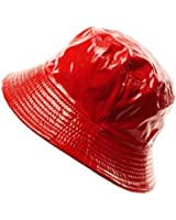 Ladies Girls Rain Resistant Bell Bucket Foldable Travel Cap Hat Cap Red 56cm