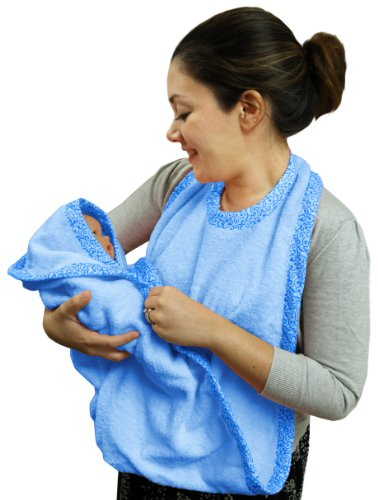 Extra Large Hands Free Absorbent Hooded Towel, Blue, Frenchie Mini Couture