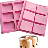 Set of 2 - CHICHIC 6 Cavity DIY Rectangle Soap Molds, Baking Mold Cake Pan, Biscuit Mold, Chocolate Mold, Ice Cube Tray for Homemade Craft