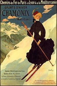 WOMAN CHAMONIX MONT BLANC MOUNTAIN SKI WINTER SPORT FRENCH LARGE VINTAGE POSTER REPRO