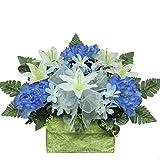 White Lilies and Blue Peonies Monument Brick Silk Flower Arrangement by Sympathy Silks® (BR1549) Sale
