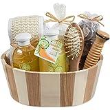 Fresh Cucumber melon two tone wood spa basket! Wooden massage comb, reflexology wood stick, back scrubber loofah, candle, potpourri in an organza bag, 260ml shower gel, 260ml bubble bath