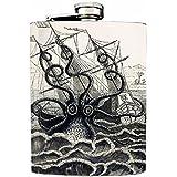 Octopus Design 02 Kraken Attaking A Ship Flask 8oz Stainless Steel