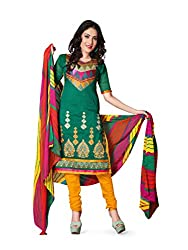 krizel Jasmine Rama Chanderi Unstitched Straight Salwar Suit Dress Material
