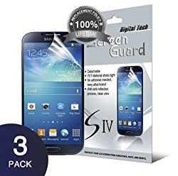 Digital Tech 3 Pack Galaxy 4 Anti-Glare & Anti-Fingerprint (Matte) Screen Protector with Lifetime Replacement Warranty In DigitalTech RETAIL PACKAGING