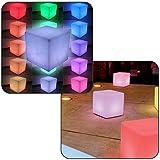 Linxor France ® Siège cube led multicolore sans fil rechargeable 40 x 40 x 40 cm + télécommande - Norme CE