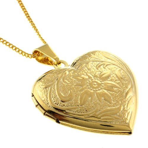 Stunning Gold Tone Heart Shaped Locket Pendant Necklace With 18 Inch Chain