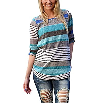 Weixinbuy Womens Loose Causal Long Sleeve Striped T-shirts