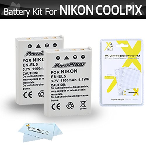 2 Pack Battery Kit For Nikon COOLPIX P100 P500 P510 P520 P530 Digital Camera Includes 2 Extended (1100Mah) Replacement Nikon EN-EL5 Batteries + LCD Screen Protectors + MicroFiber Cleaning Cloth