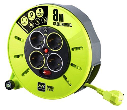 Masterplug-Pro-XT-KASSETTE-S-Kabeltrommel-Kabelbox-8m-mit-4-Steckdosen-Schalter-und-Thermoschutz