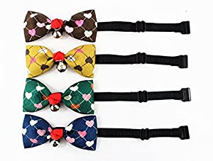 "CatYou 4 PCS Set in Different Colors, Block Pattern Heart-shaped Bowknot Collar Bow-Tie with Bell for Cats or Small Dogs, Adjustable from 7""-11.8"""