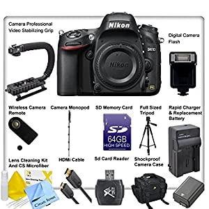 Nikon D610 Digital SLR Camera Body + Accessory Package, Includes Rapid Battery Charger with Adapter, ENEL15 Replacement Battery, Professional Monopod for Outdoor Shooting, 64GB SD Memory Card, Professional Video Stabilizing Grip, Digital Camera Flash, Wireless Camera Remote, Full Size Tripod, HDMi Cable, SD Memory Card Reader, Shock Proof Camera Case, Lens Cleaning Kit and CS Microfiber Cloth.