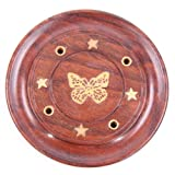 Sheesham Wood Round Ash Catcher - Butterfly Inlay. Incense Stick Holder.