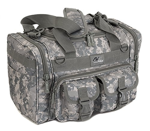 buy Mens 15 Inch ACU Digital Camo Duffel Molle Tactical Shoulder Strap Bag With Key Ring Carabiner for sale