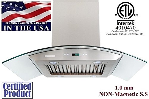 XtremeAir PX01-I36 Island Mount Range Hood with 900 CFM Baffle Filters/Grease Drain Tunnel, 36