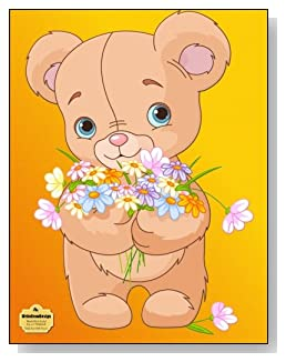 Teddy Bear With Flowers Notebook - Adorable stuffed teddy bear with an armful of wildflowers makes such a cute cover for this blank and wide ruled notebook with blank pages on the left and lined pages on the right.