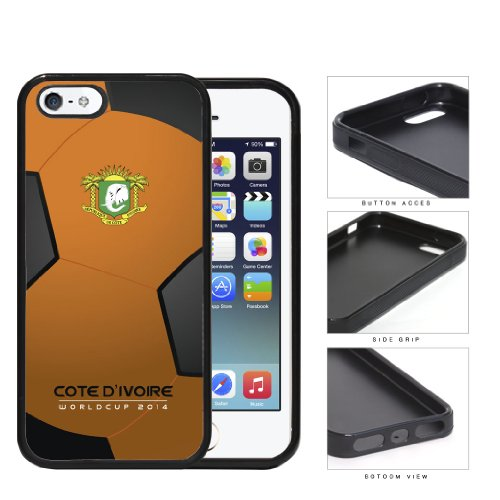 Cote D'Ivoire (Ivory Coast) World Cup 2014 Soccer Ball Rubber Silicone Tpu Cell Phone Case Cover Iphone 5 5S
