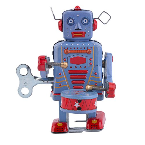 robot decorations Vintage Metal Tin Drumming Robot Clockwork Wind Up Tin Toy Collectible robot decor (Roomba Eyes compare prices)