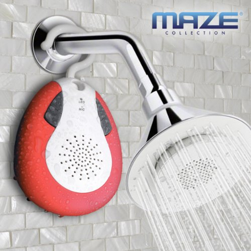 Maze Collection Hybrid Waterprof Wireless Bluetooth Shower Speaker With Hook Handle, Auto Fm Shower Radio Compatible With All Bluetooth Devices, Iphone 5 Siri And Android Devices (Red)