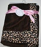 Koala Baby Faux Fur Blanket - Pink & Brown with Leopard Print Trim