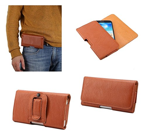 DFV mobile - Case synthetic leather horizontal belt clip for => Brondi Centurion 3 > Brown