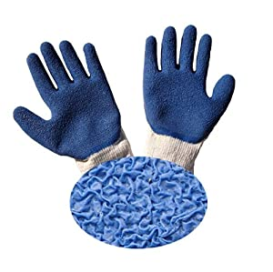 G & F 1511 Rubber Coated Gloves, Blue Latex Palm and Finger, Crinkle Pattern, Large, 10-Dozen