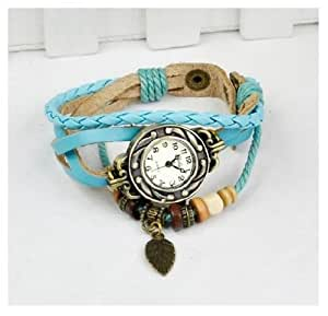 U-beauty Light Blue Quartz Cool Weave Wrap Around Leather Bracelet Lady Woman Wrist Watch