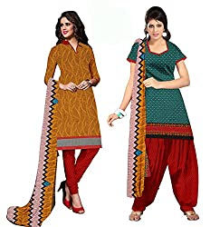 Ethnic For You Crepe Unstitched Salwar Suit Dress Materials(YELLOW,BROWN,RAMA)