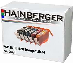 5 Druckerpatronen mit Chip für Canon, ersetzt PGI-525BK CLI-526BK CLI-526C CLI-526M CLI-526Y , sch(525BK) sch(526BK) blau(526) rot(526M) gelb(526Y)