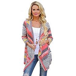 Bluester Women Irregular Stripe Shawl Kimono Cardigan Tops Cover Up Blouse