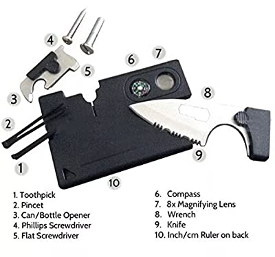 FW Tools - Credit Card Pocket Knife 10 in 1 Multitool for Emergency / Survival Multifunction Camping Tool by FW Tools
