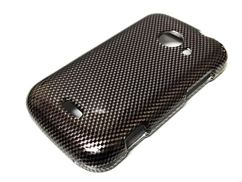 For ZTE Z667 Zinger Prelude 2 Whirl 2 Z667G Hard Phone Cover Hard Faceplate Case Accessories + Happy Face Phone Dust Plug (Carbon Fiber Design) (Phone Cases For Model Z667g compare prices)